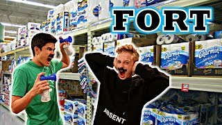 TOILET PAPER FORT WITH AIR HORN PRANK!!