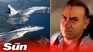 Passengers scream in panic as US fighter jet comes close t..