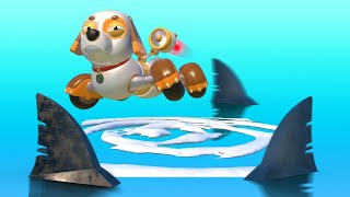 AnimaCars - Super Puppy dog versus SHARKS - cartoons for kids with trucks & animals