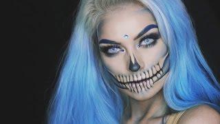 BLUE GLAM SKULL Halloween Makeup Tutorial