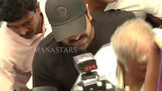 Ram Charan arrives at Film Chamber to support Pawan..