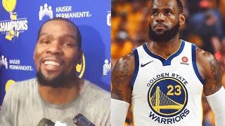 Kevin Durant reacts to LeBron James Joining Warriors Rumors!