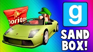 Gmod Sandbox Funny Moments - Driving Test, Banana Gun, Soccer Fun, To the Butt Cave!