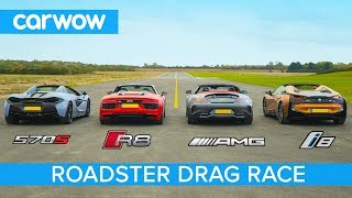 AMG GT C vs Audi R8 vs McLaren 570S vs BMW i8 - Roadsters ROOF, DRAG and ROLLING RACE!