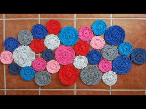 Alfombra trapillo multicolor crochet con trapillo t shirt yarn carpet musica movil - Alfombra de trapillo cuadrada ...