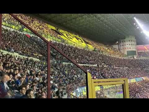 Dortmund Fans making noise in The San Siro creating an Electric Atmosphere Vs Inter Milan