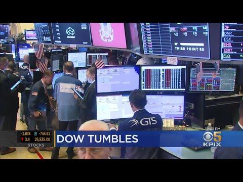 STOCKS TUMBLE: Dow Jones Loses Over 700 points