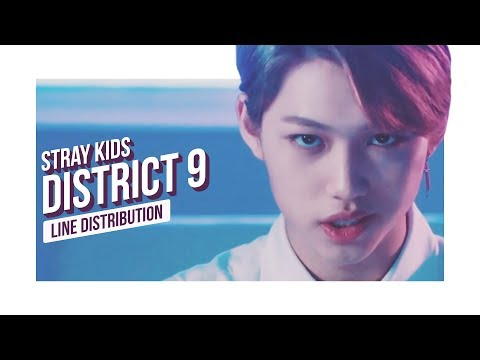 Stray Kids - District 9 Line Distribution (Color Coded) | 스트레이 키즈 - 디스트릭트 9