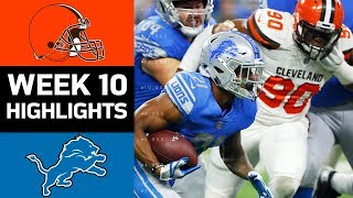 Browns vs. Lions | NFL Week 10 Game Highlights