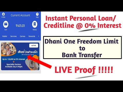 Instant Personal Loan @ 0% Interest || Dhani One freedom Creditline to Bank Transfer - LIVE !!!
