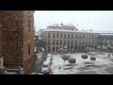 Nieve en la Plaza Mayor