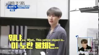"""(Super TV) Donghae running through Eunhyuk 's House with torch. Members """"This guy is the problem"""""""