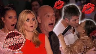 SNOGGING With Simon! Contestants Can't Keep Their Hands Off SIMON COWELL | Amazing Auditions