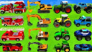 Excavator, Dump Trucks, Tractor, Police Cars & Fire Truck Toy Vehicles for Kids