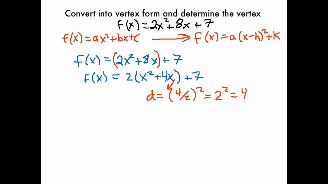 Changing a Quadratic Function into Vertex Form - YouTube