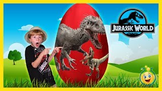 Giant Dinosaur Surprise Egg Opening! Jurassic World Indominus Rex & T-Rex Dinosaurs with Kids Toys