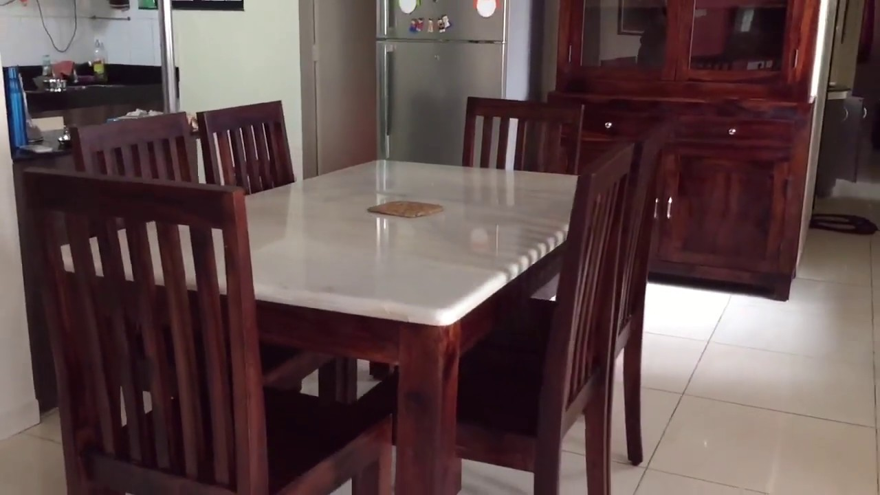 Wooden Dining Table With Marble Top Rightwood