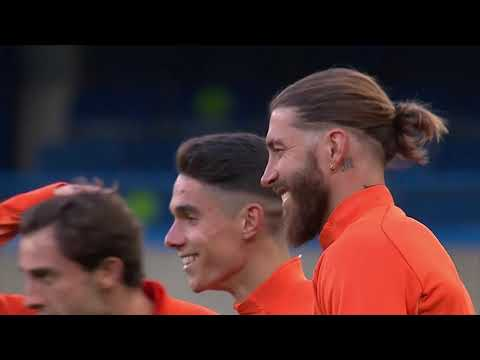 Hazard, Ramos and teammates train as Real Madrid prepare for Chelsea | Champions League | 欧冠 皇马客战切尔西