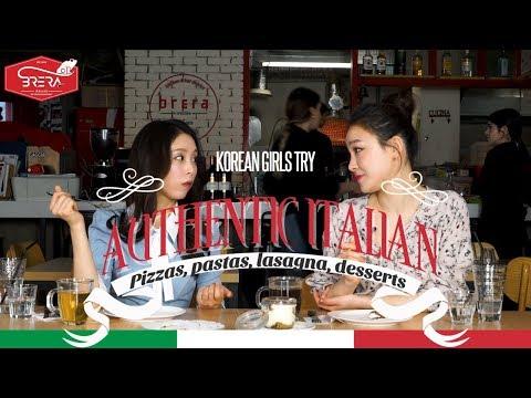 Korean Girls Try Authentic Italian Food [Pizzas, pastas, lasagna, desserts]