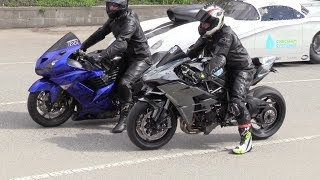 Kawasaki motorcycles drag racing - H2 Ninja vs Ninja ZX-14