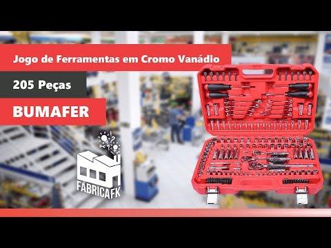 Jogo de Ferramentas em Cromo Vanadio 205 Peças Bumafer - Vídeo explicativo