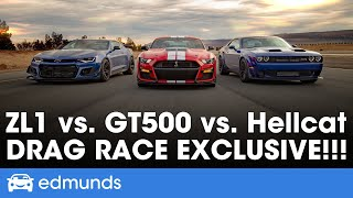 Ford Mustang Shelby GT500 vs. Dodge Challenger Hellcat Redeye vs. Chevy Camaro ZL1 1LE - Drag Race