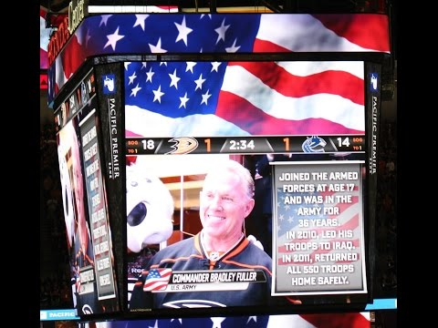 Brad Fuller Is a True America Hero. Honda Center Military Recognition at the Ducks Game