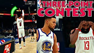 OUT SHOOTING STEPH CURRY AND JAMES HARDEN IN THE 3 POINT CONTEST! JUMPER TOO WET - NBA 2K18 MyCAREER