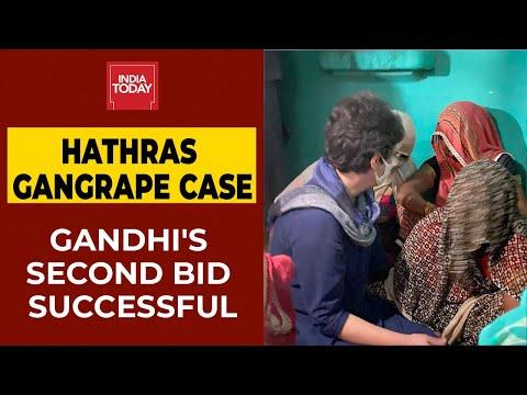 Congress leader Priyanka Gandhi hugs Hathras victim's mother