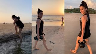 Tollywood beauty Rashmika Mandanna workout at beach, viral..