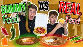 BROTHERS TRY GUMMY FOOD VS REAL FOOD
