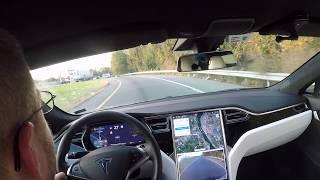 TESLA Model S Version 9, 42.2 Navigate on Autopilot, car stops on its own!