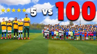 100 Kids vs 5 PRO Footballers In A Soccer Match