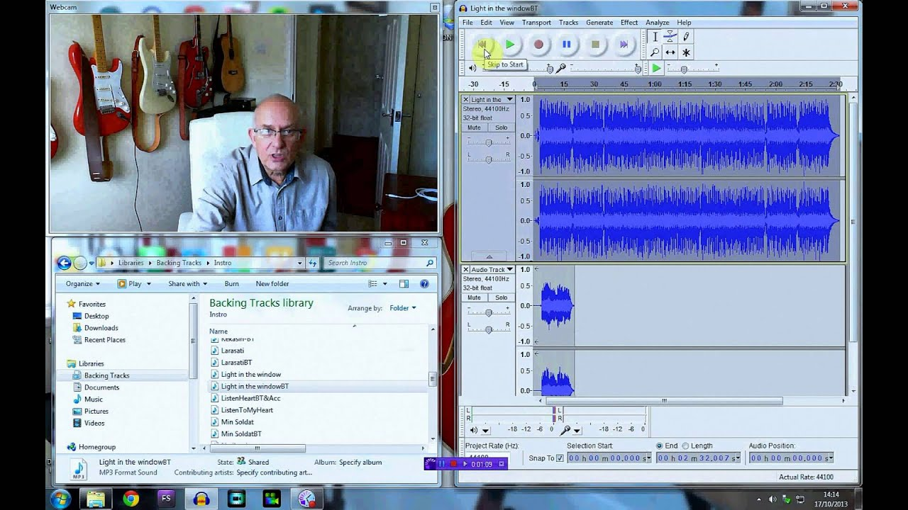 recording guitar with audacity using a backing track dave monk youtube. Black Bedroom Furniture Sets. Home Design Ideas