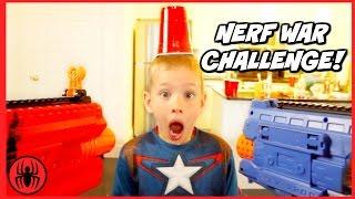 Captain America's Nerf War Challenge! Boy vs Girls Nerf Battle Challenge SuperHero Kids