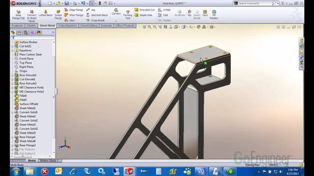 Solidworks Convert To Sheet Metal Youtube