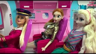 Barbie & Elsa Anna Dolls Videos! Airplane! At the Hotel! Beach Vacation! Swimming Pool & Mermaid!
