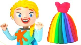 FROZEN ELSA NEW DRESS ❤  Superhero Babies, Hulk & Frozen Play Doh Cartoons For Kids