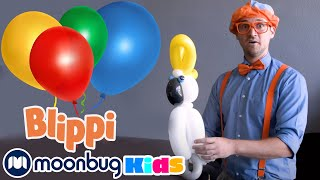 Blippi Visits the Balloosionist at Amy's Playground - Learn Rainbow Colors | Moonbug Kids