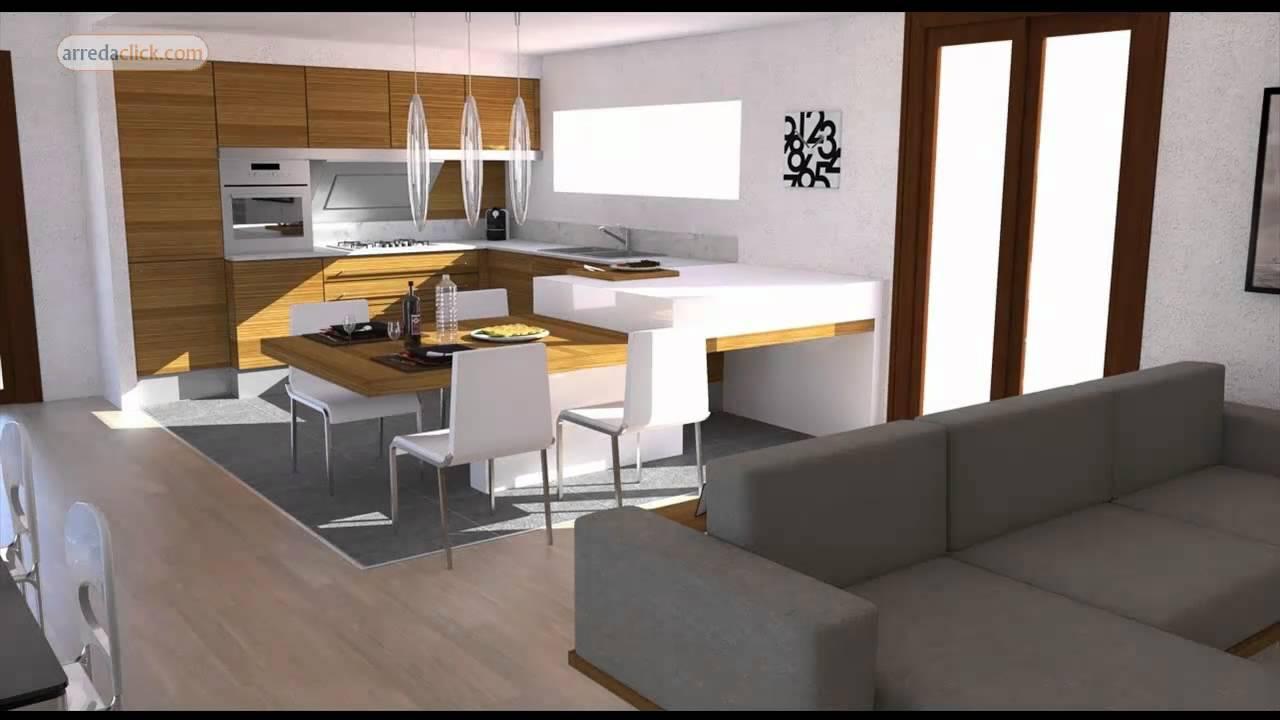Progettazione di interni 3d bilocale moderno youtube for Interni di appartamenti