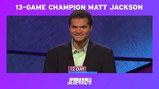 Jeopardy!   Congratulations Matt Jackson, Jeopardy!'s 4th Winningest Champion Ever