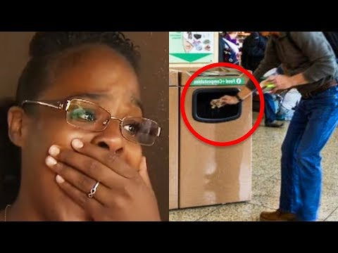 Lady Sees Crying Man Forced To Throw Package In Trash – What She Digs Out Is Heartbreaking