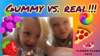 GUMMY vs. REAL FOOD CHALLENGE! Flower Plums Toys