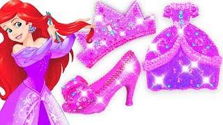 Play Doh Making Colorful Sparkle Disney Princess Ariel Dress High Heels Crown Castle Toys