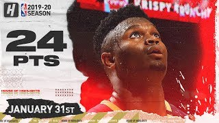 Zion Williamson 24 Pts Full Highlights | Grizzlies vs Pelicans | January 31, 2020