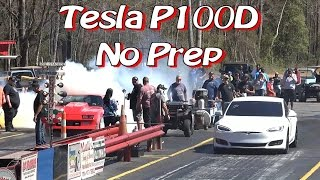 Tesla P100D Enters NO PREP Drag Race!
