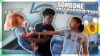 SOMEBODY SENT MY SISTER A CHUCKY DOLL! *her reaction was hilarious*