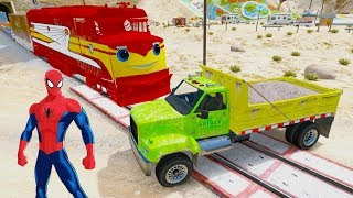 Learn Colors Big Truck & Police Cars With Superheroes & Spiderman 3D Animation Songs And Children