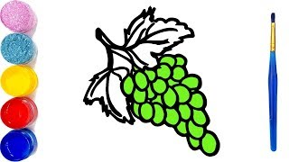Grapes & Tree Drawing Coloring Pages for Kids - Learn Colors How to Draw