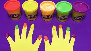 Making 10 Colors Play Doh Finger Nails   Learn Colors with Play Doh Nails   Happy Toys 2
